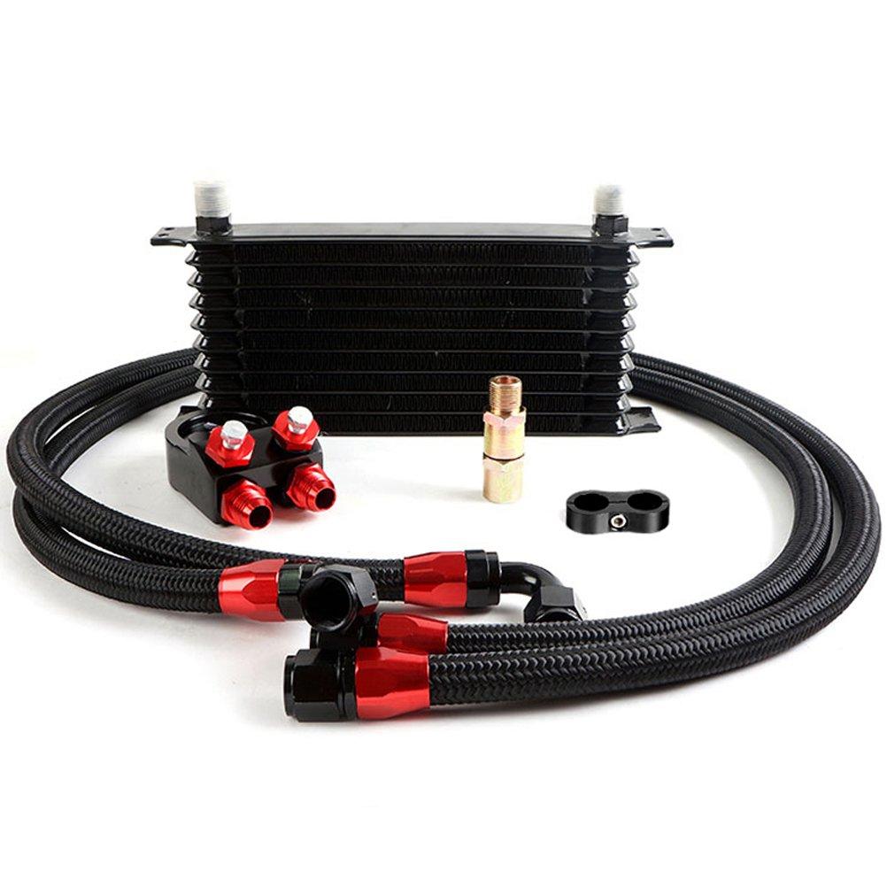Amazon.com: 10 Row 10AN Universal Engine Aluminum Transmition Oil Cooler kit Oil Filter Adapter Kit: Automotive