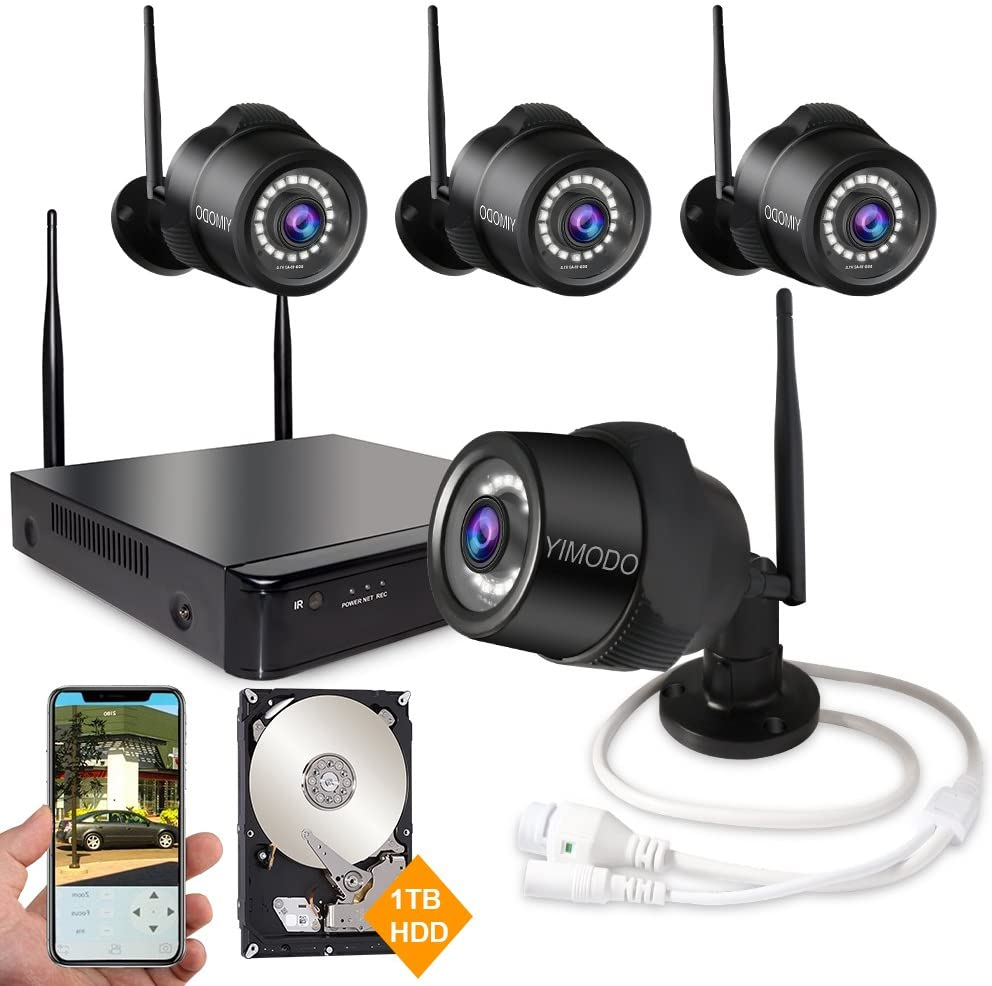 Rraycom 4CH 1080P HD NVR Wireless Security Camera System,4PC 2.0MP Weatherproof Indoor Outdoor Survillance Cameras with 115ft Night Vision,Support Smartphone Remote View with 1TB Hard Drive