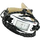Damen Armbanduhr Uhren Watch Modeschmuck Leder Armband Quartz Farbenwahl Schwarz