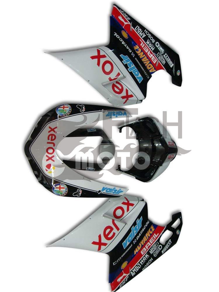 FlashMoto ducati デュカティ 1098 848 2007 2008 2009 2010 2011 2012 1198用フェアリング 塗装済 オートバイ用射出成型ABS樹脂ボディワークのフェアリングキットセット ブラック, ホワイト   B07L893KQM