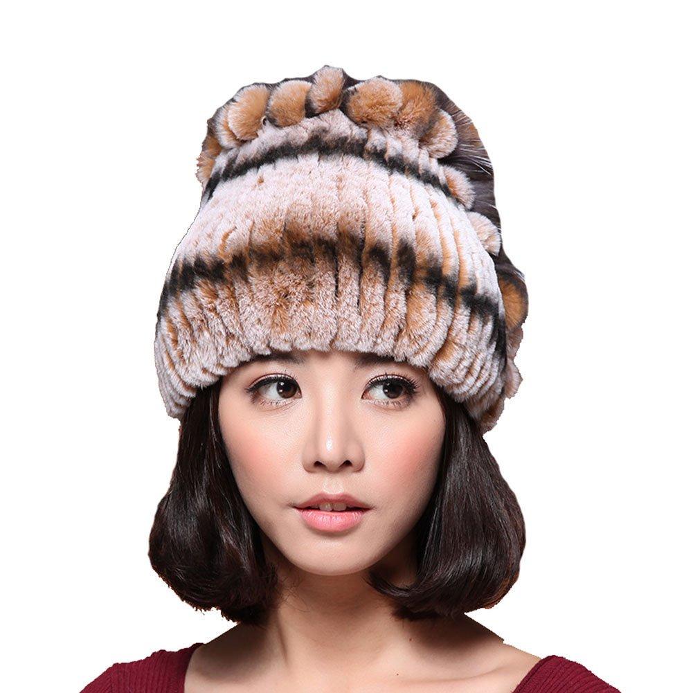 MINGXINTECH womens real rabbit fur jacquard knit cap winter warm tassels skiing hat