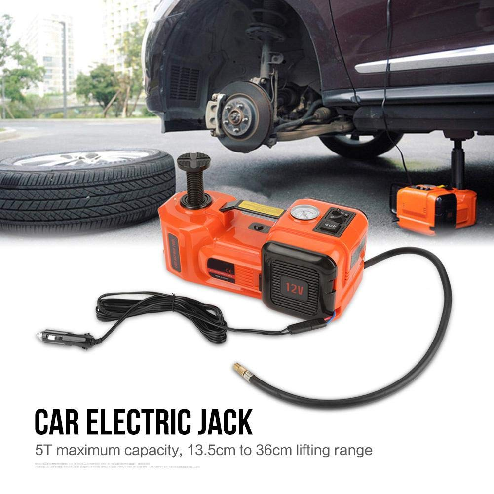 Car Electric Jack 5 Ton 12V DC Jack Scissor Lifting Auto Adjustable Height 13.5cm-36cm Car Powered Packed in Handy Carry Case for Road Emergency Use like Tyre Change