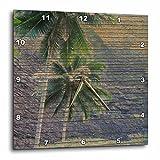 3dRose dpp_28039_3 Wood Tropical Hawaii Palm Trees Wall Clock, 15 by 15-Inch
