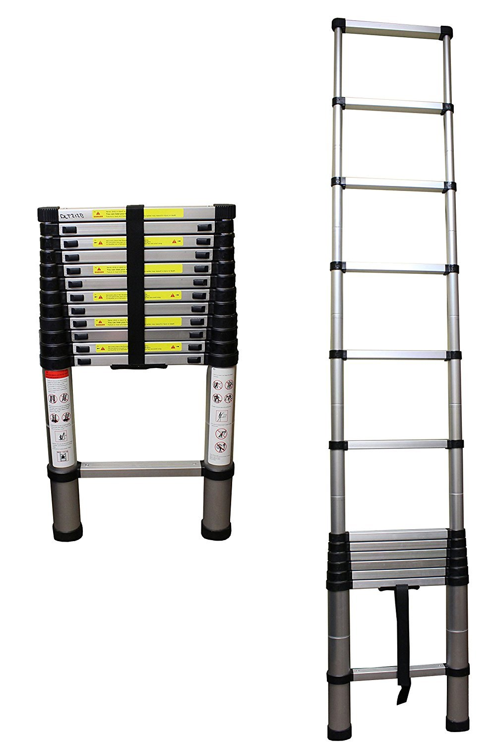12.5' Ft Aluminum Telescoping Portable Ladder with Safety Locking Steps ANSI EN131