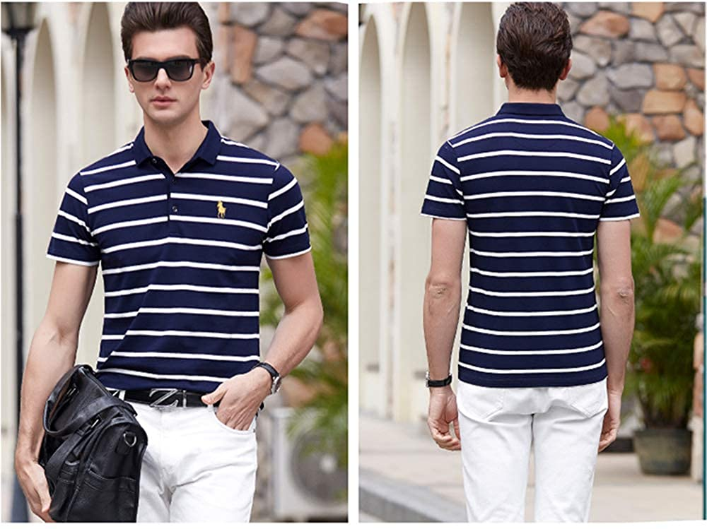 Mens Summer Casual Classic Fit Stripe Short Sleeve Polo Shirt