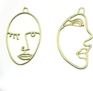 NX Garden 4PCS Face Shape Pendant Charm 18K Gold Plated for DIY Chain Necklace Earrings
