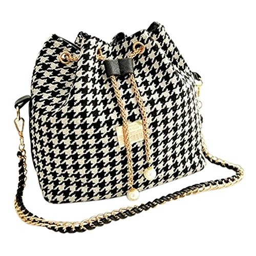 handbag bag bag bag grid canvas Black messenger fashion and bag bucket R patchwork Women SODIAL women women white chains shoulder wYZPZq