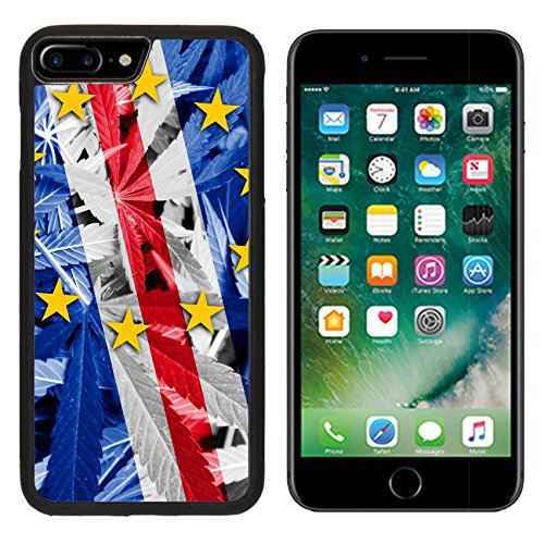 MSD Premium Apple iPhone 7 Plus Aluminum Backplate Bumper Snap Case iPhone7 Plus IMAGE ID: 37627351 Cape Verde Flag on cannabis background policy Legalization of marijuana