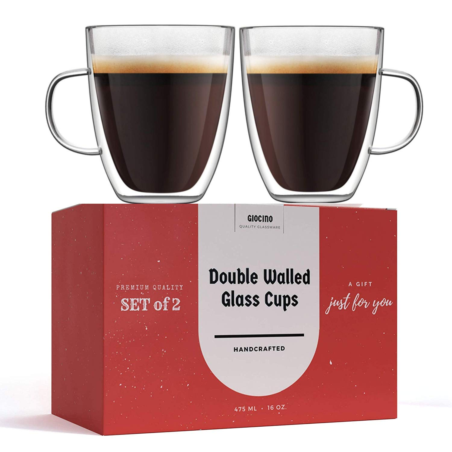 Clear Coffee Mug, Large Double Wall Insulated Glass Cups - Set of 2 (16 Ounce) Dishwasher Microwave Safe - Unique ,Insulated With Handle