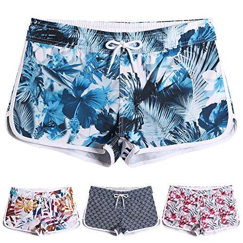 (MaaMgic Womens Swim Shorts Elastic High Waist Retro Boardshorts Quick Dry for Women Printed Beach Wear Swim Bottom Trunks Dark Green Small)
