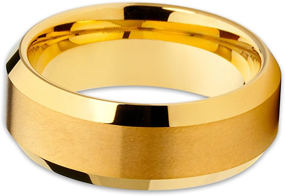 Silly Kings 8mm Yellow Gold Tungsten Carbide Wedding Ring Brushed Beveled Band Unisex Comfort Fit