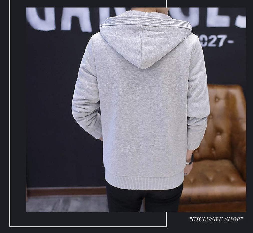 VITryst-Men Cardigan Hooded Casual Fleece Zip Up Sweatshirts Top Blouse