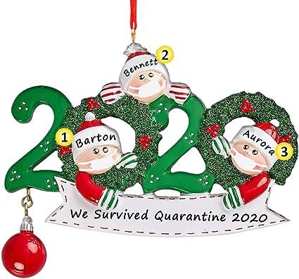 Christmas Tree Ornaments 2020 Santa Wearing Mask Hanging PeadantS Decor Gift USA