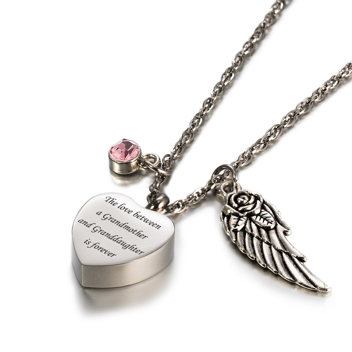 Glimkis Personalised Cremation jewelry for ashes love between Grandmother& Granddaughter is forever Birthstone urn necklaces,June(Engraved)