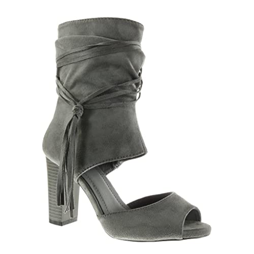 b0acbdeae401a Angkorly - Chaussure Mode Bottine Sandale Peep-Toe ouverte sexy femme  lanière frange Talon haut
