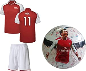Ozil #11 Kids Soccer Youth Jersey Shorts Premium Great Gift Set Mesut Ozil #11 Soccer Ball Size5 Football Futbal Boys