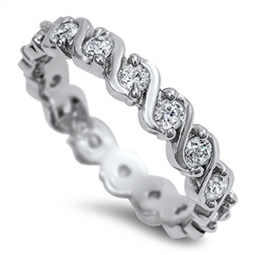 Eternity Stackable White CZ Fashion Ring New 925 Sterling Silver Band Sizes 5-10