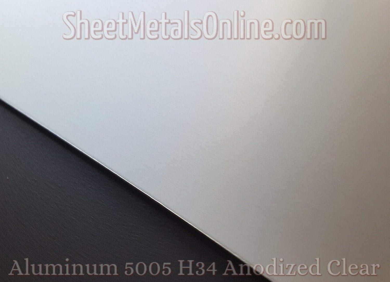 0.050//18 Gauge Aluminum Sheet Metal 5005 Clear Anodized 12 x 5
