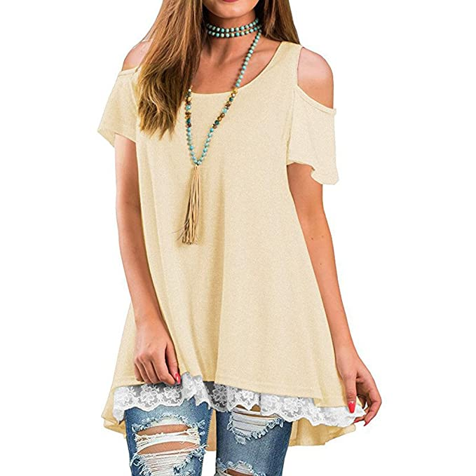 ILUCI Womens Tops Off Shoulder T-Shirt Short Sleeve Casual Tee A-Line Tunic