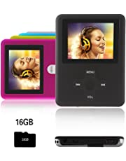 Btopllc Reproductor MP3,Reproductor MP4 16GB,Reproductor de música portátil MP3,Reproductor de Video Reproductor de música USB,MP3/MP4 Reproductor Multimedia - Negro