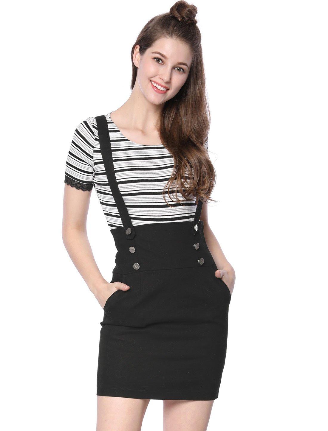 Allegra K Women's Button Front High Waist Braces Suspender Skirt XL Black