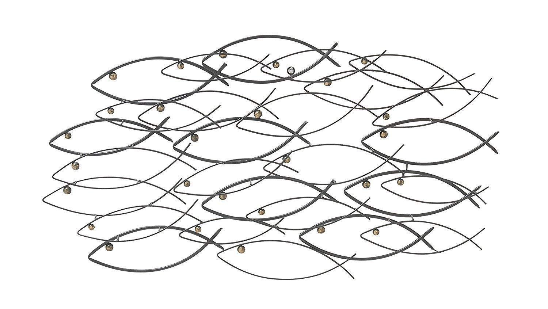 Bellaa 22014 Metal Wall Art School of Fish Beautiful Unique Nautical 40 inch by Bellaa