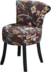 GWW Chair High Back Velvet Vanity Benches, Padded Lounge Makeup Stool, Fan Back Dressing Chair, Baroque Piano Chair, Cushioned Stool with Solid Wood Legs
