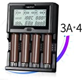 Universal Battery Charger,KINDEN 3A Each Slot Total 12A Fast Portable Smart Charger Large LCD Screen for Li-ion IMR INR ICR Ni-MH Ni-Cd AAAA AAA AA A SC C D Rechargeable Batteries