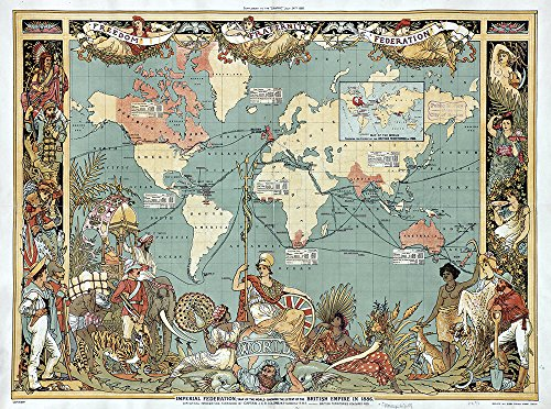 British Empire Map Imperial Federation Map of The World 1886 - Small - Matte Print (British Empire Map)