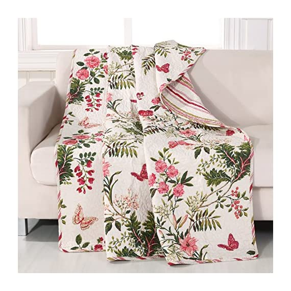 Greenland Home Butterflies Quilted Throw - Bring the great outdoors into your bedroom with the butterflies quilt Style! intricate vermicelli quilting provides a rich surface texture Butterflies reverses to a coordinating fashion stripe for two looks in one Made in China - blankets-throws, bedroom-sheets-comforters, bedroom - 612SzZqh 8L. SS570  -