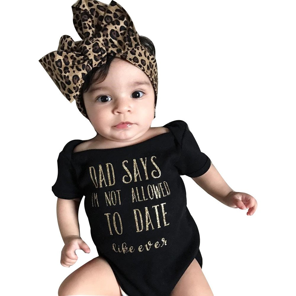Newborn Infant Baby Girls Letter Print Jumpsuit and Headband Outfits Clothes Set (6-12 Months, Black)