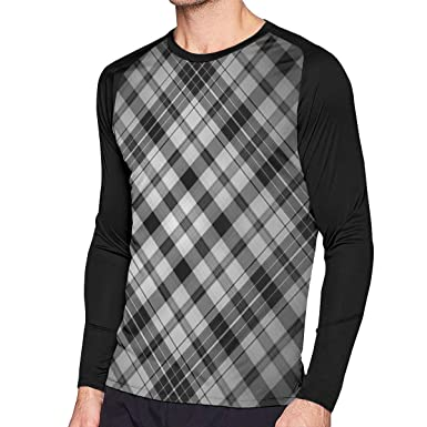 94058af4d LONE-WOE Checkerboard Long Sleeves Casual Fashion Round Neck T Shirt ...