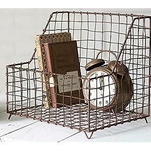 Cute little Rustic Farmhouse Metal and Wire General Store Basket Bin by Glory & Grace