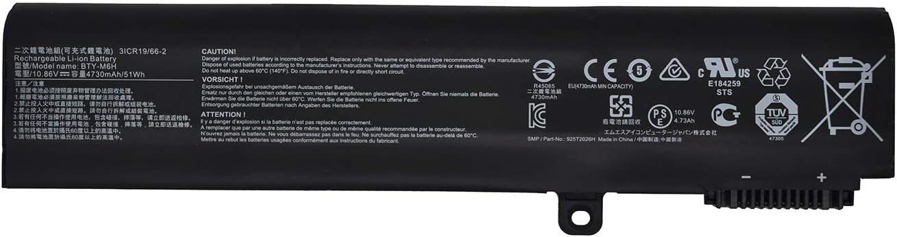 SUNNEAR BTY-M6H 10.86V 51Wh 4730mAh Laptop Battery Replacement for MSI GE62 GE72 GL62 GL72 GP62 GP62MVR GP72 GL62M GP72MVR GL62VR GL72VR GT62VR MS-16J2 Series Notebook