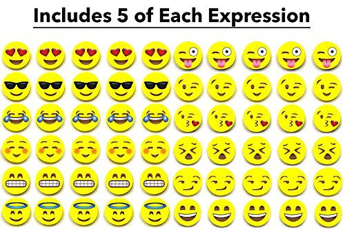 Emoji Pencil Erasers (60-Pack), Super Cute, Fun and Functional, Great as Gifts for Kids, Incentives, Prizes, Party Favors, Classroom Rewards and School Supplies - Erase Very Well, Child-Safe BPA Free Photo #6