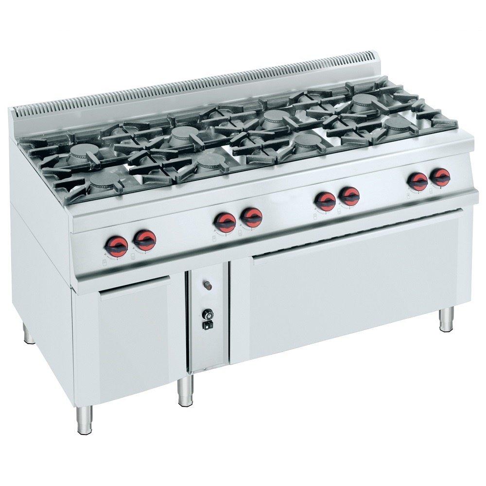 Macfrin R8L Cocina a Gas de 8 Fuegos, Armario y Horno 62 Kw ...