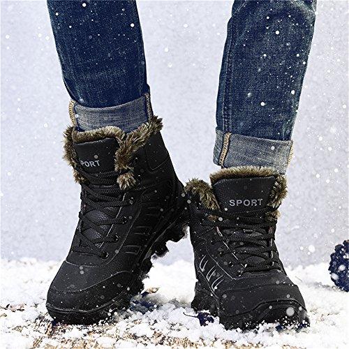 on D Slip Bootie Ankle Barerun Anti Black M Waterproof Fully Boots Snow Lightweight Winter Fur Slip with US for Men 14 Uwqz5