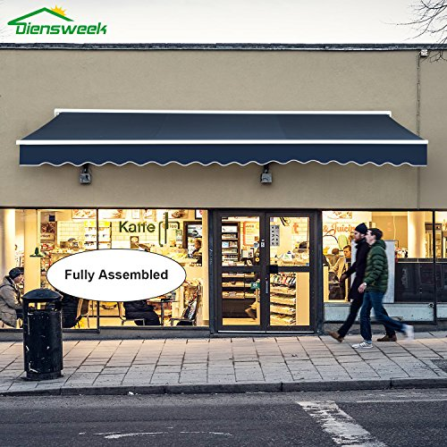 10' Shade Series - Diensweek Patio Awning Retractable Manual Commercial Grade - Quality 100% 280G Ployester Window Door Sunshade - Deck Canopy Balcony P100 Series 2 years warranty (15'x10', Navy Blue)