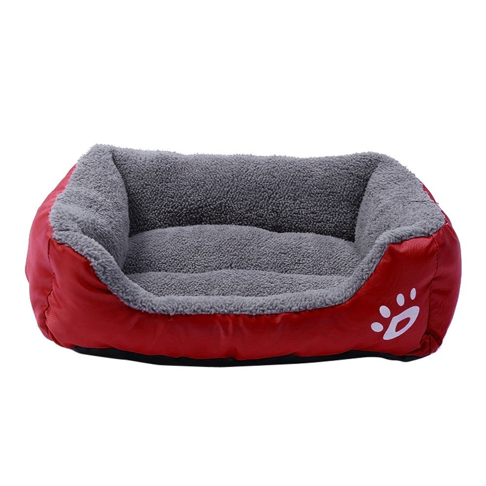 Pet Dog Bed | Square Pet Nest, Soft Warm Kennel Dog Mat Blanket,Pet Dog Cat Bed Puppy Cushion House, Orthopedic Ultra Plush Sofa-Style Couch Pet Bed for Dogs & Cats (Wine Red, S) by Pet1997 (Image #1)