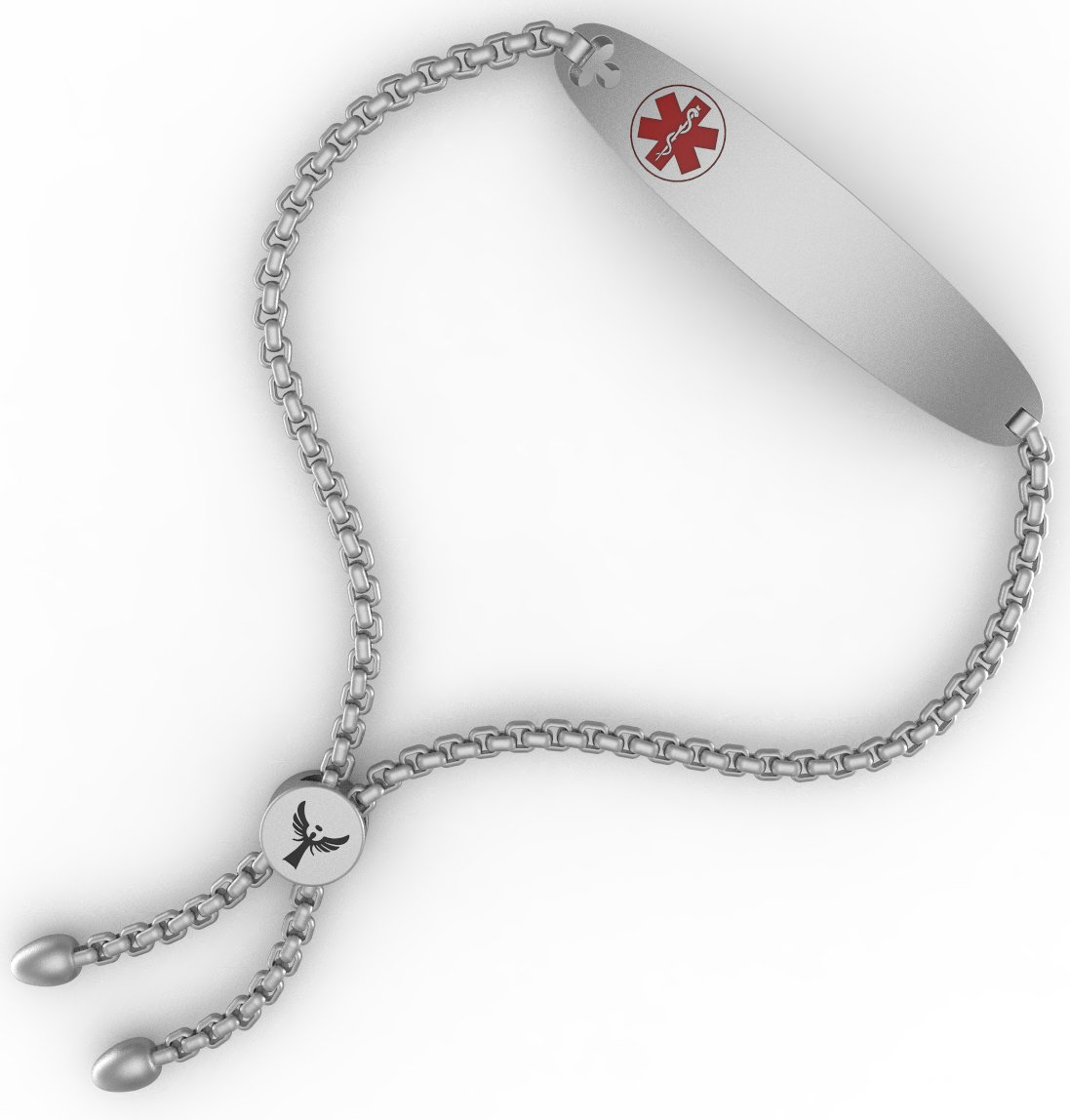 WelMag Women's Charm Adjustable Medical Alert ID Bracelets with Free Engraving (Silvery 2.0)