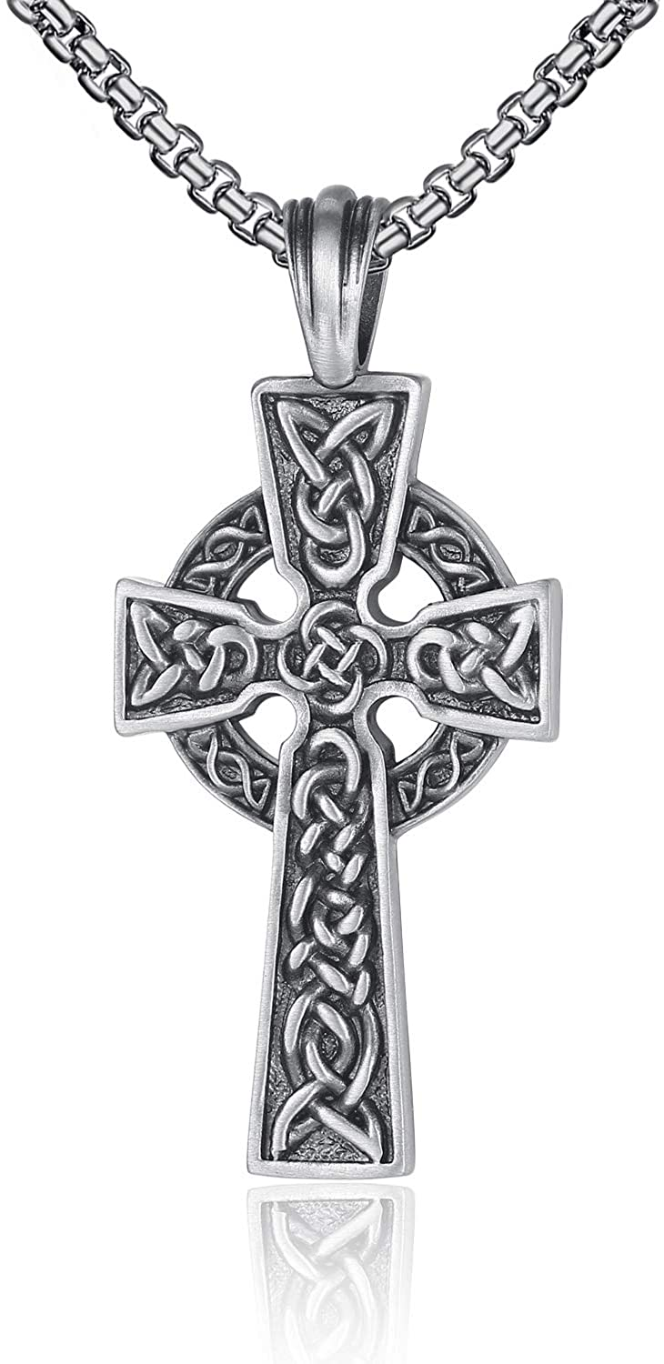 EVBEA Celtic Cross Necklace for Men Viking Irish Knot Serenity Prayer Pendant Crucifix Mens Jewelry with Stainless Steel Curb Chain