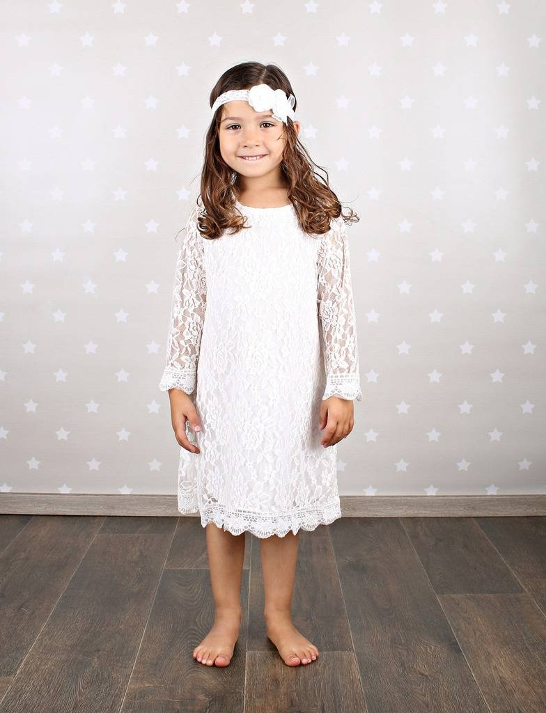 152982c90b Bow Dream Short Lace Flower Girl Dress with Illusion Sleeves