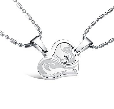 39b0d75e2e Amazon.com: His & Hers Matching Set Titanium Stainless Steel Couple ...