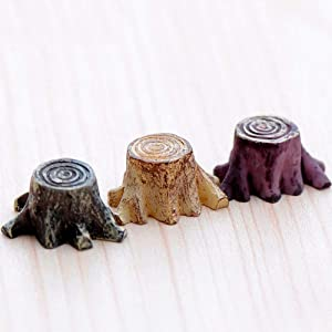DAWEIF 5Pcs Artificial Mini Root Stump Fairy Garden Miniatures Gnomes Moss Terrariums Resin Crafts Figurines for Home Decoration Accessories(Delivery Within 3 Days)
