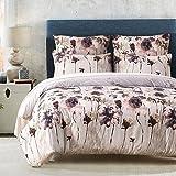 LOVE(TM)Lightweight Ultra Soft Brushed Microfiber Duvet Cover Set, Colorful Floral Print Pattern, Light Purple Multi-Color-King Size