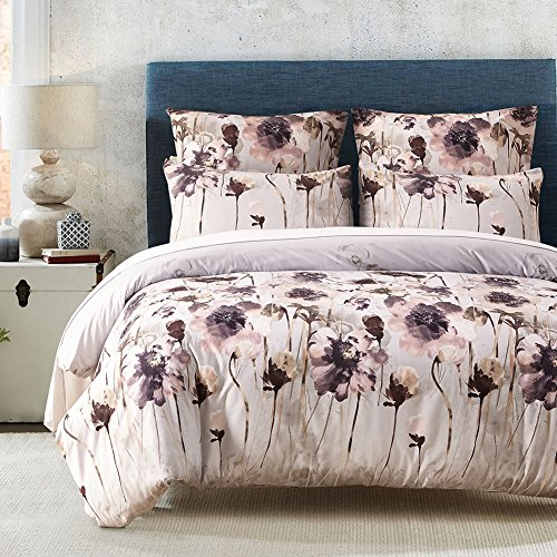MAXYOYO Microfiber Duvet Cover Set with Zipper Closure-Floral Pattern, Queen Size-3 Piece (1 Duvet Cover + 2 Pillow Shams), Bedding Set for Teen Girls/Women/Ladies - Asian Queen Size Bed