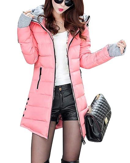 Guiran Mujer Abrigos Plumas Largo De Invierno con Capucha Espesar Cálido Chaquetas Cazadoras Parkas Pink 3XL