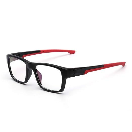 5dc281d2b0 Rectangular Non-prescription Glasses Frame Classic Rx-able Eyeglasses Men  Women Black Frame Red