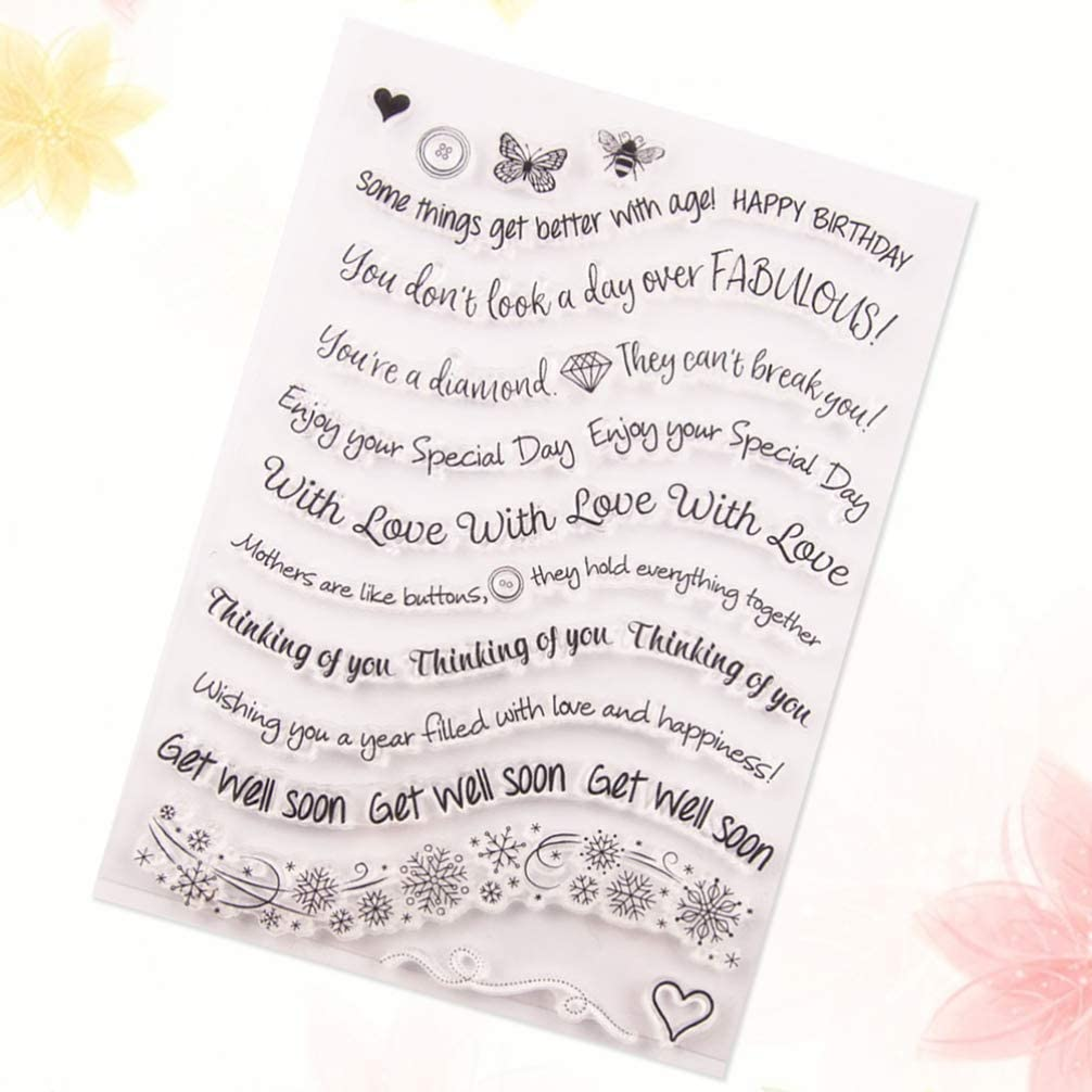 HEALLILY Love Words Clear Stamp English Alphabet Letter Border Cards Making Rubber Stamp for Scrapbooking Embossing Album Diary Decoration