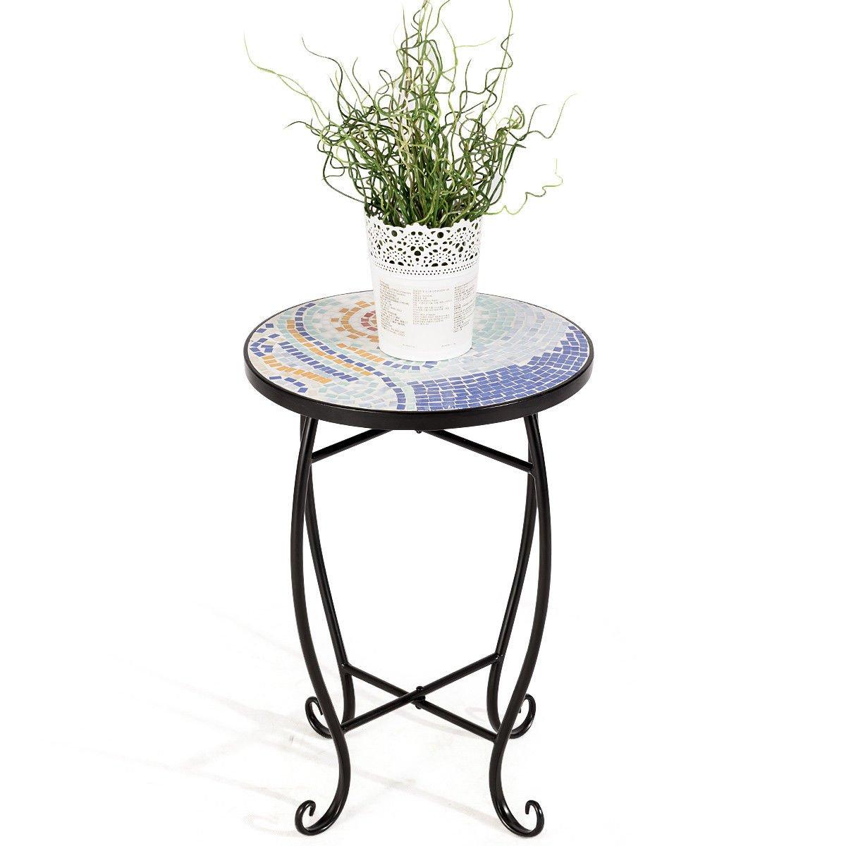 Ocean Accent Table Plant Stand Scheme Garden Steel Outdoor Indoor